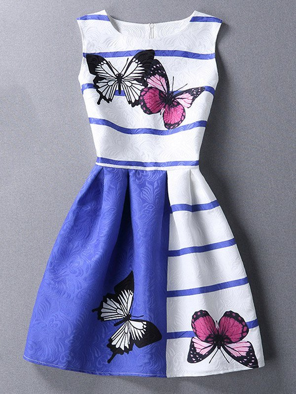 Chic Butterfiy Print Scoop Neck Sleeveless Color Block Dress For Women