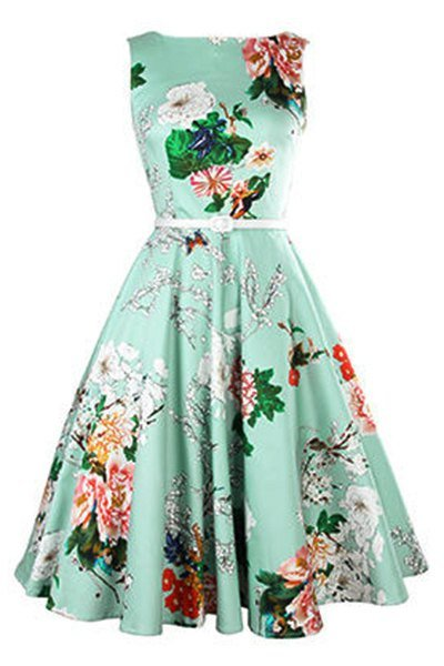 Vintage Jewel Neck Floral Print Sleeveless Belted A-Line Dress For Women