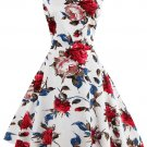 Vintage Sleeveless Floral Print Dress For Women