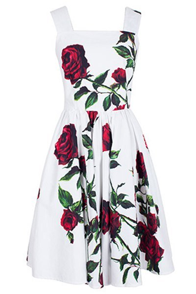 Vintage Square Neck Sleeveless Floral Print Dress For Women