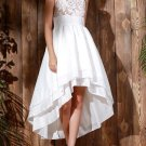 Graceful White Sleeveless Layered Asymmetric Maxi Dress For Women