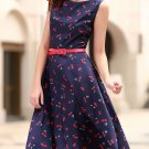 Vintage Jewel Neck Cherry Print Sleeveless Flare Dress For Women