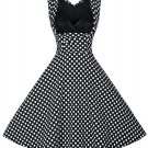 Retro Style Polka Dot Print Sweetheart Neck Dress For Women