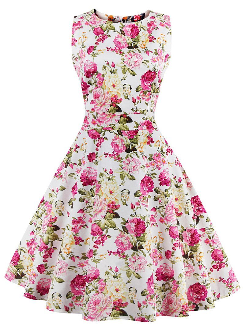 Vintage Sleeveless Chrysanthemum Print Dress For Women