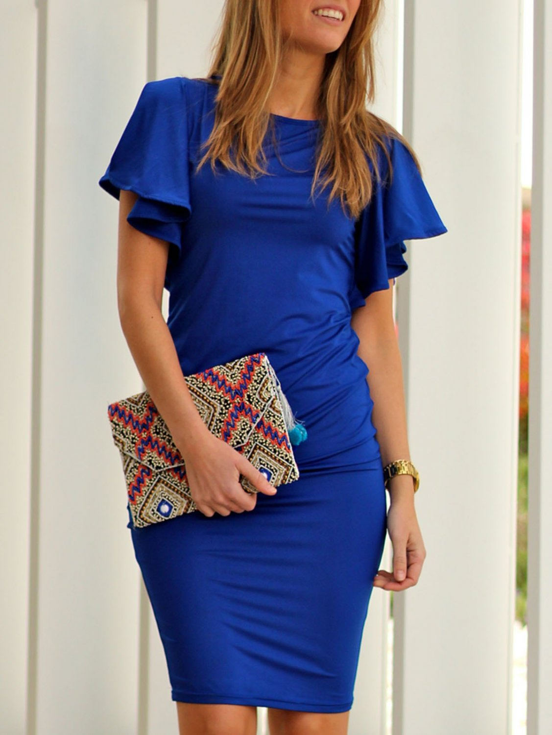 Graceful Jewel Neck Butterfly Sleeves Solid Color Bodycon Midi Dress For Women