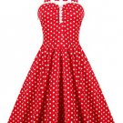 Women's Retro Style Ruffled Polka Dot Halter Dress