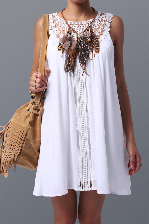 Chic Women's Lace Spliced Sleeveless Dress