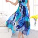 Trendy V-Neck Sleeveless Color Block Print Midi Dress For Women