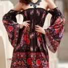 Bohemian Off-The-Shoulder Long Sleeve Floral Print Dress For Women