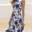 Women's Vintage Sleeveless Floral Print Belted