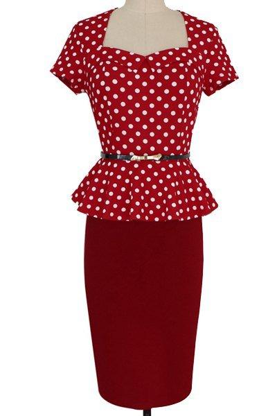Trendy Sweetheart Neck Short Sleeve Polka Dot Flounce Dress For Women