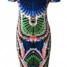 Alluring Off-The-Shoulder Colorful Printed Women's Bodycon Dress