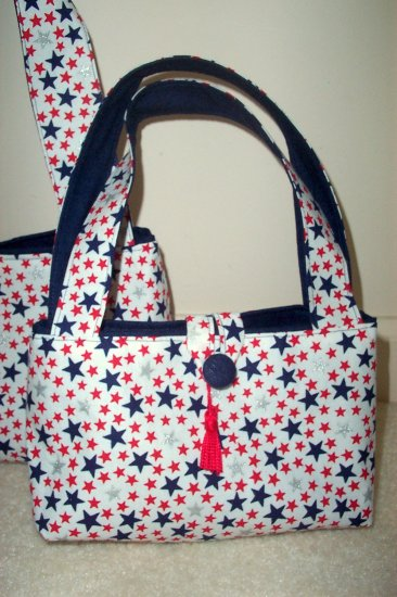 Red & Blue Stars on White Classic Tote (Small)