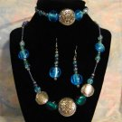 Turquoise, Silver and Lavender Necklace Set