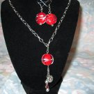 Red & Silver Pendant Set