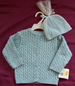 NWT Healthtex Cardigan Sweater & Hat Set Boys 6-9 mos