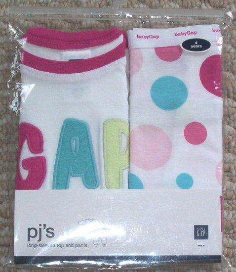 NWT Baby Gap Girls LOGO Pajamas PJ's 4 4T pastel dots