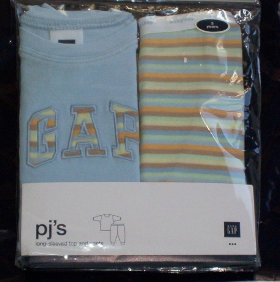NWT Baby Gap LOGO Pajamas PJ's 5 5T blue w stripes