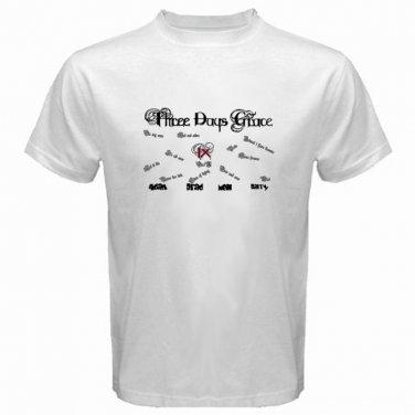 Three Days Grace Logo White T Shirt Emo Punk Rock Band S to XXXL