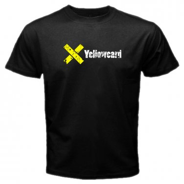 Yellow Card Logo Black T-Shirt Emo Punk Rock Band S to XXXL