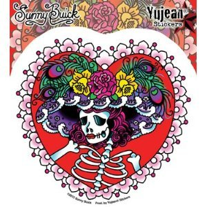 Sunny Buick - Flower Hat Sugar Skull - Embroidered Patch