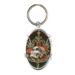 Top Heavy - No Regrets Skull with Roses - Metal Keychain