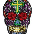 Novelty Iron On Patch Cross Sugar Skull Face w/ Rose Flower Eyes Applique