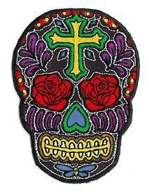 Novelty Iron On Patch Cross Sugar Skull Face w/ Rose Flower Eyes Applique