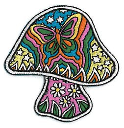 Dan Morris Artist Iron On Patch - Psychodelic Mushroom w/ Butterfly & Stars Applique