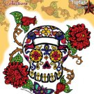 "M Luera Thorned Roses Sugar Skull Day of the Dead Sticker die-cut Size:5""x5"" NEW"