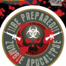 Zombie Apocalypse BE PREPARED Biohazard Skull Gun STICKER By Frank Wiedemann NEW