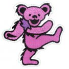 GRATEFUL DEAD DANCING BEAR PATCH, ART BY GDP Inc., PINK EMBROIDERED IRON ON *NEW