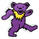 DANCING BEAR GRATEFUL DEAD, PURPLE, Art By GDP Inc., EMBROIDERED IRON-ON PATCH