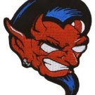 DEVILS HEAD PATCH WITH BLACK HAIR RED EARRING IRON ON PATCH BY ENGINEHOUSE 13
