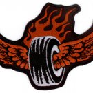 "VULTURE KULTRUE RED FLAMES RED WINGS BLACK TIRE "" FLAMIN' TIRE "" BIKER PATCH"