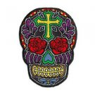 ROSE CROSS SUGAR SKULL DAY OF THE DEAD PATCH EMBROIDERED IRON-ON BY SUNNY BUICK