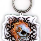 HOT LEATHERS - TRIBAL FLAMING SKULL - BIKER METAL KEYCHAIN KEY RING * NEW *