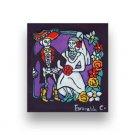 WEDDING LA BODA DAY OF DEAD Dia De Los Muertos Stretched Canvas Art Painting 7X8