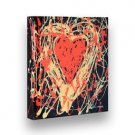 "Hand Painted GLOSSY Painting LIVELY HEART - Stretched Wooden Frame Canvas 9""X8"""