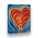 "Hand Painted GLOSSY Painting INTERMOST HEART Stretched Wooden Frame Canvas 7""X8"""
