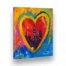 "Handpainted Abstract Painting CITY HEART 8""X9"" Stretched WOODEN Frame by GEMMA L"