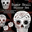 SUNNY BUICK WHITE SUGAR SKULL STICKER SET TATTOO DAY OF THE DEAD STICKER SET NEW
