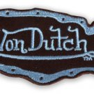 "VON DUTCH, BROWN MAP OF USA, SKY BLUE LETTERS, WOVEN SEW-ON PATCH, 4""x2"" * NEW"