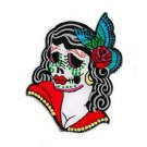 SUNNY BUICK LADY SUGAR SKULL DAY OF THE DEAD PATCH EMBROIDERED IRON - ON * NEW *