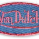 "VON DUTCH, SKY BLUE OVAL PATCH WITH PINK LETTERS, WOVEN SEW-ON, 4""x2"" INCHES NEW"
