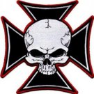 AFTERMATH CROSS SKULL BIKER PATCH EMBROIDERED IRON OR SEW ON PATCH *LARGE*  NEW