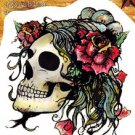 AGORABLES ROSE SKULL STICKER DAY OF THE DEAD DIE CUT ON TRANSPARENT BACKGROUND