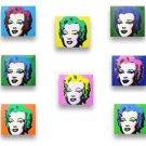 "8 PIECES, Each 9""x8"" WARHOL, MARILYN MONROE, Stretch Canvas Art Print & Painted"