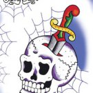 SUNNY BUICK COBWEB SKULL STICKER SKULL WITH A KNIFE THROUGHT COBWEB BACKGROUND