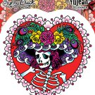 SUNNY BUICK FLOWER HAT SUGAR SKULL STICKER TATTOO DAY OF HTE DEAD STICKER  NEW